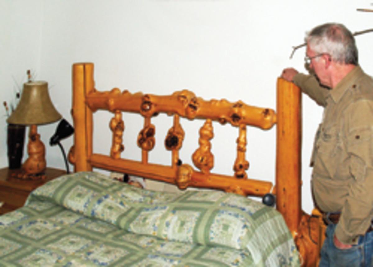 Pridgeon builds pine burl beds.