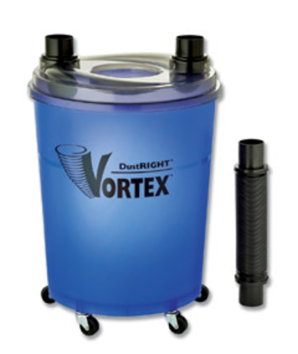 The DustRight Vortex is a dust-collection canister unit that uses suction power from a shop vacuum.