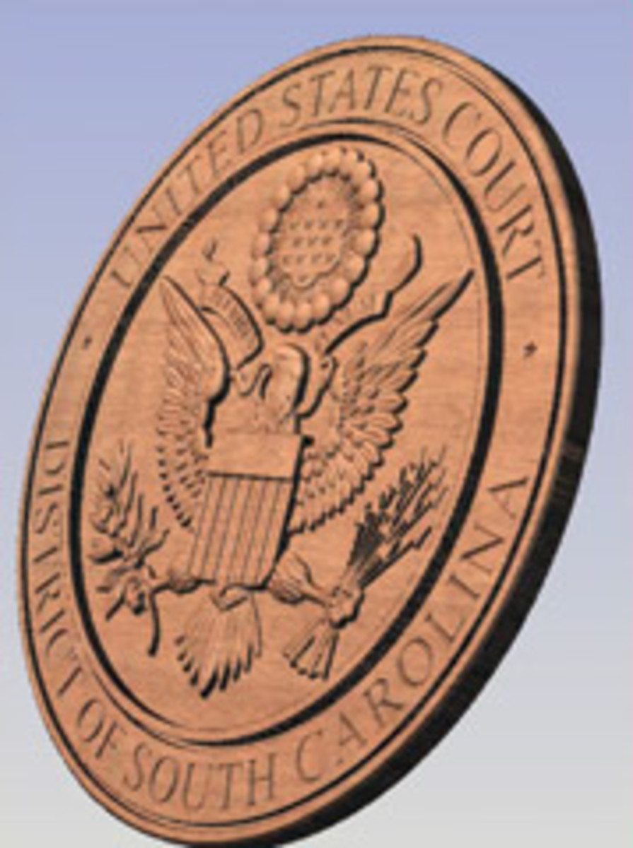 The shop has produced the South Carolina Supreme Court seal with its CNC router.