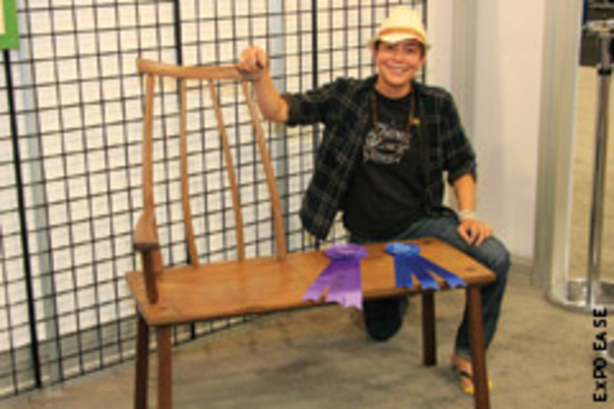 "Candice Groenke and her Best of Show piece, ""Katana Bench."""