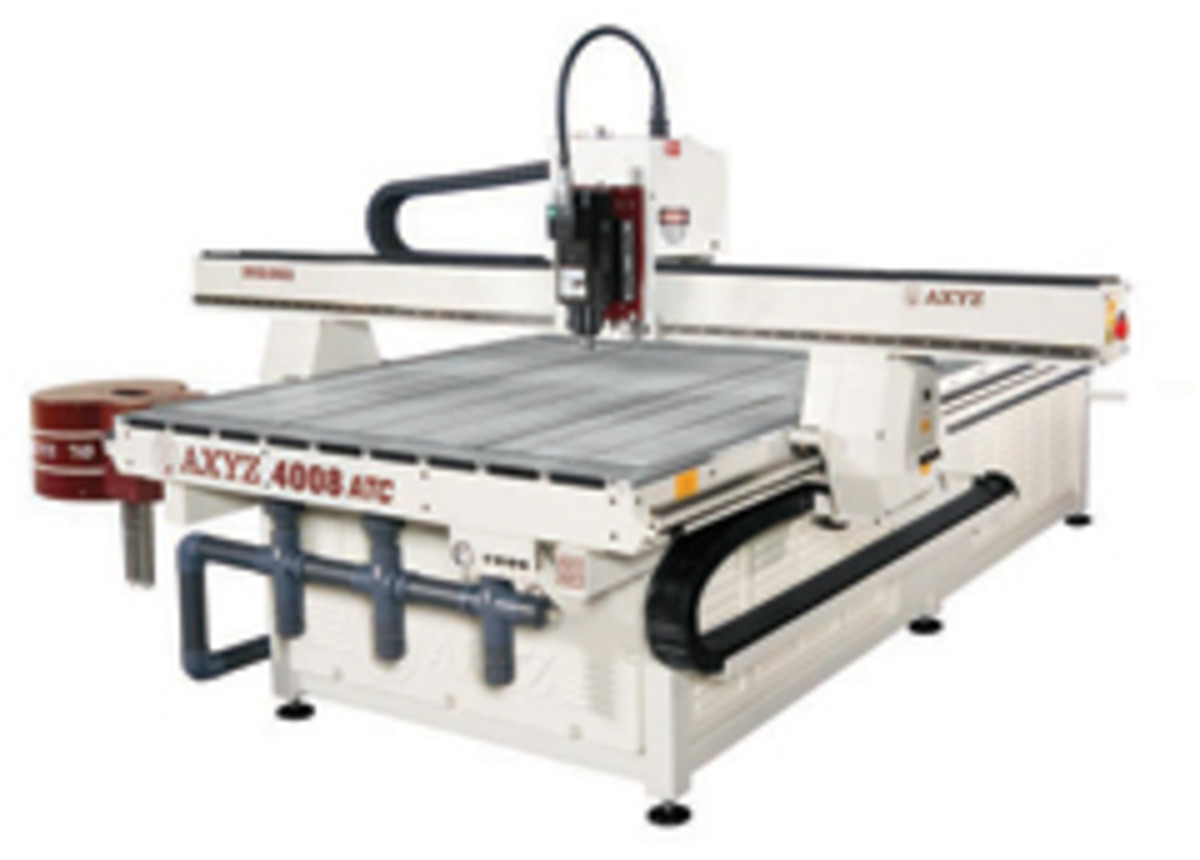 AXYZ displayed four series of CNC routers at IWF, including its 4000 series, the smallest of the group, which has a maximum process width of 60'.