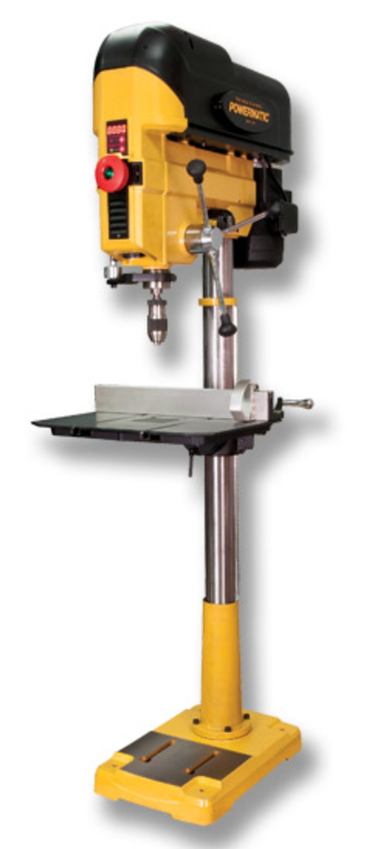"The updated Powermatic 18"" drill press, model PM2800B, features 6"" of quill travel with one full turn of the hand wheel."