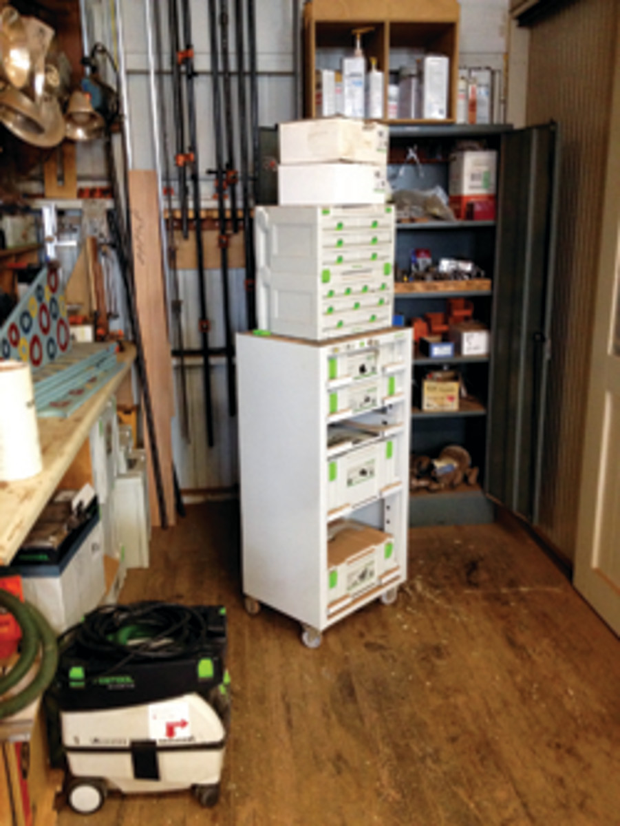 Storage systems, like these from Festool, keep tools on hand.