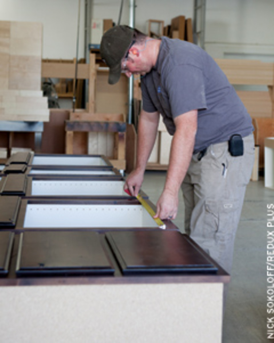 Outsourced suppliers can provide cabinet doors, face frames, drawer boxes, drawer faces and even body components.