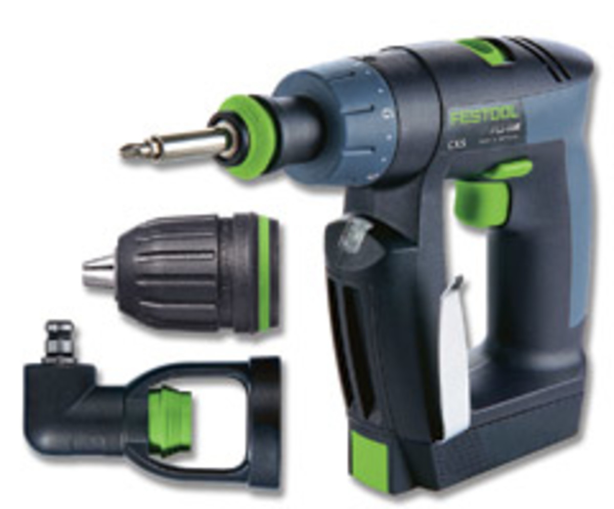 Festool's CXS 10.8-volt cordless drill with its Centrotec (installed) keyless and right-angle chucks.