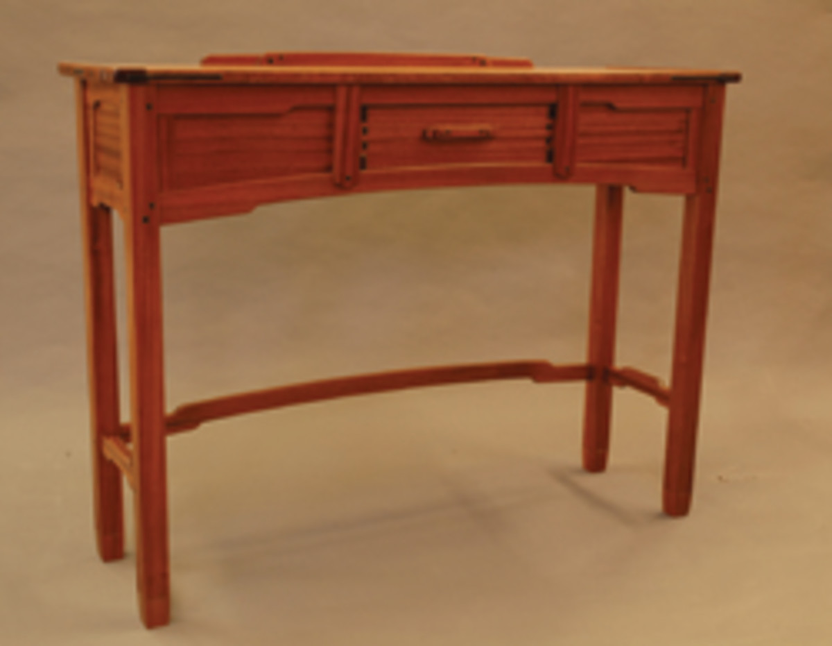 "The ""Mastery Showcase"" at the Northwest Woodworking Studio in Portland, Ore., featured this sideboard by Brad Ewing.."
