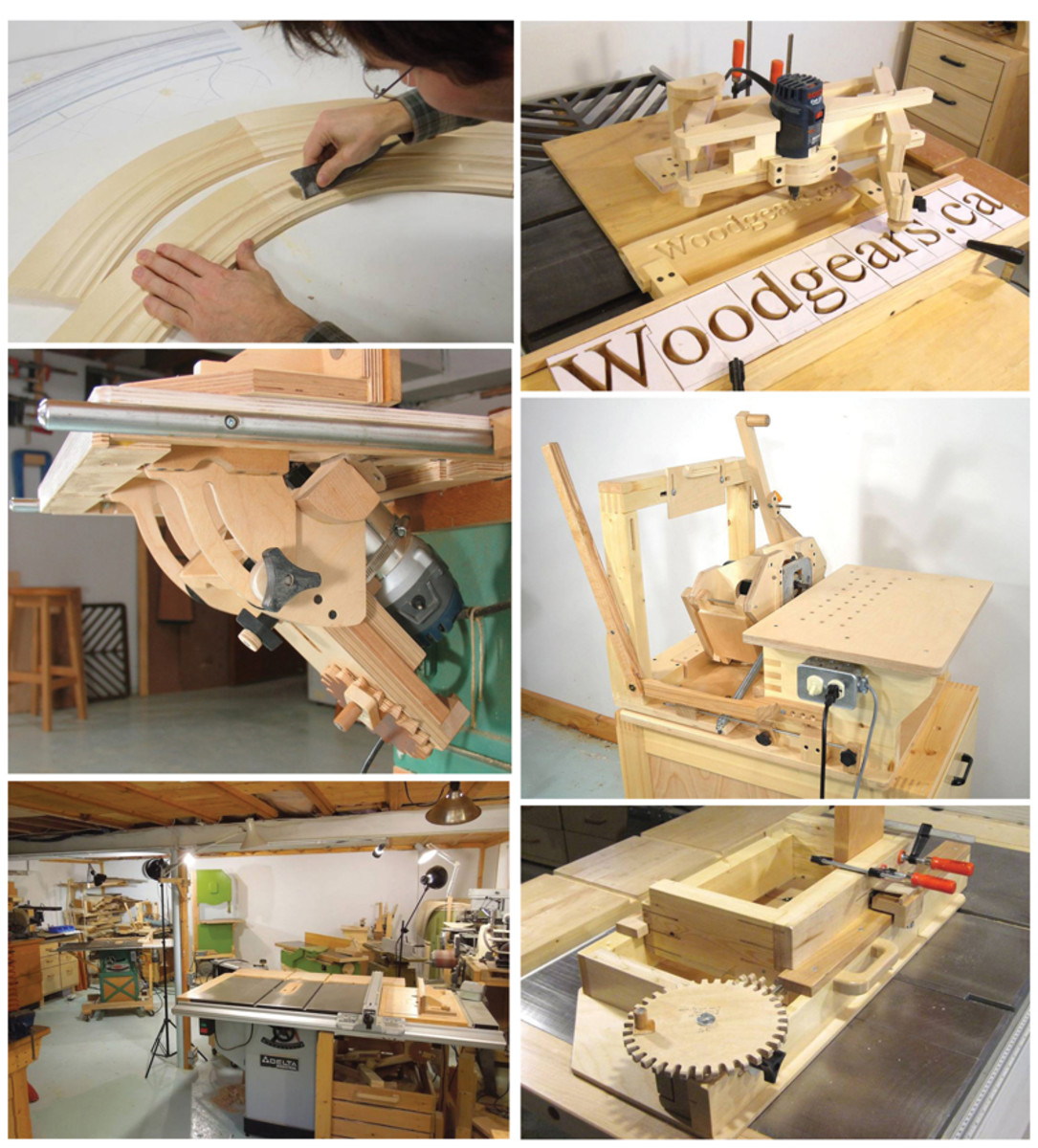 Jig builder Matthias Wandel shows (clockwise) a wooden-geared box-joint jig, curved moldings made on his tilting router lift, a horizontal boring machine, the height-adjustable pantograph, his workspace and the tilting router attached to a table saw.