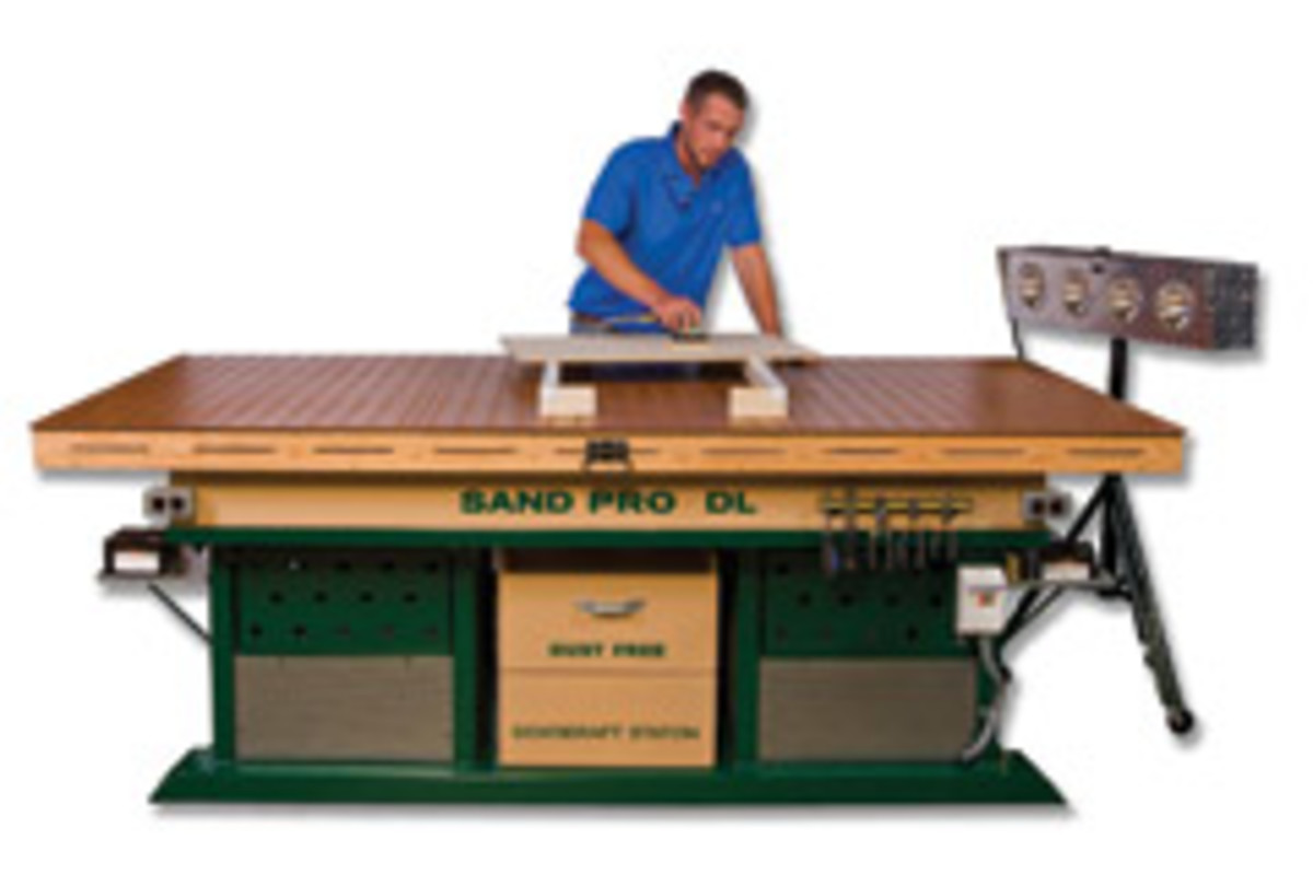 Portable lights, such as this unit from Sandman Products, can help with sanding and finishing.