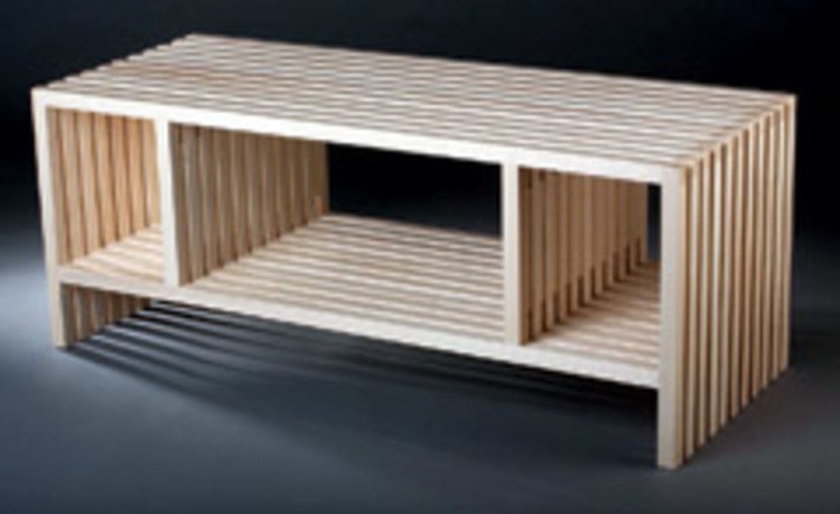 "Gregory Crispell's bench, ""Eleven,"" made of white ash with a water-based varnish finish."