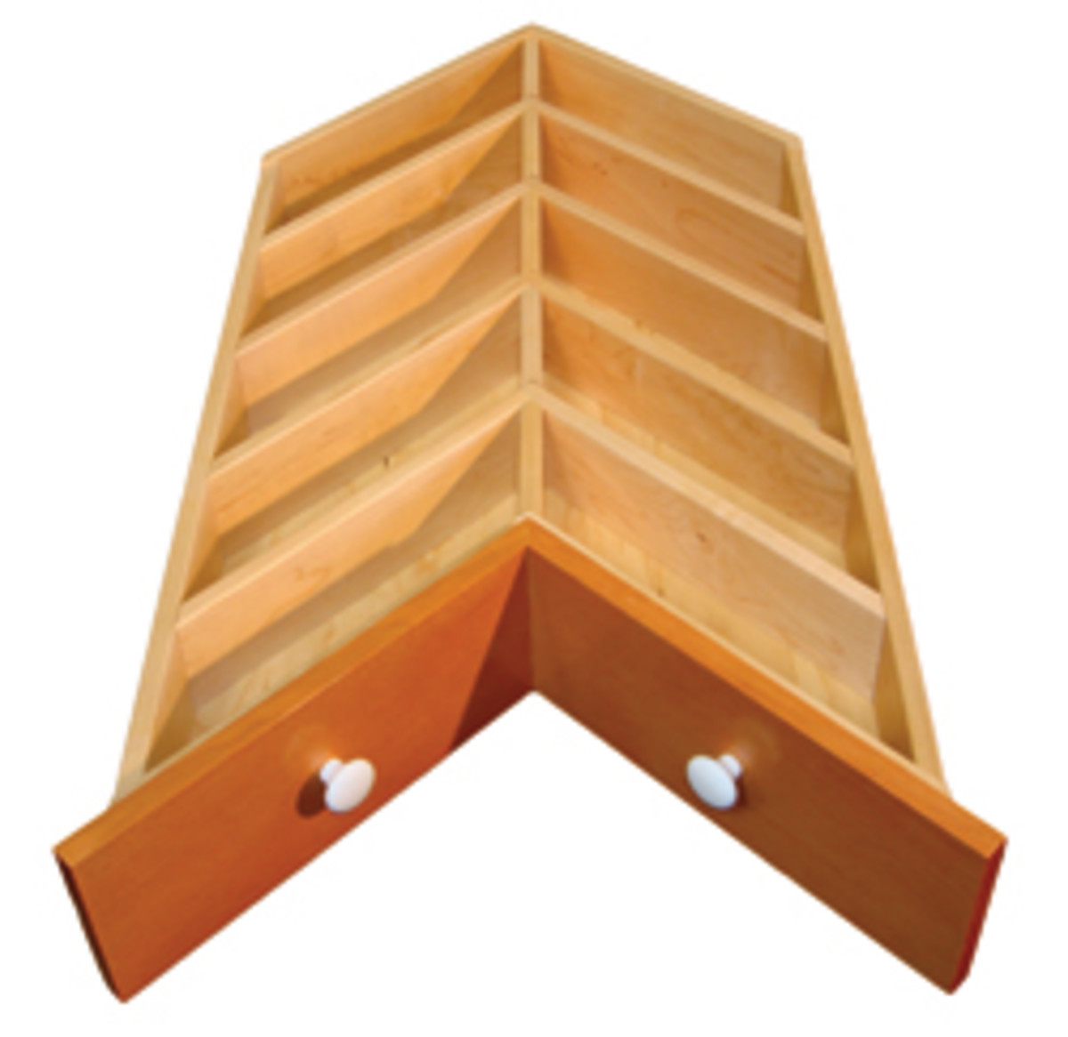 Chevron corner drawer dividers from Western Dovetail.