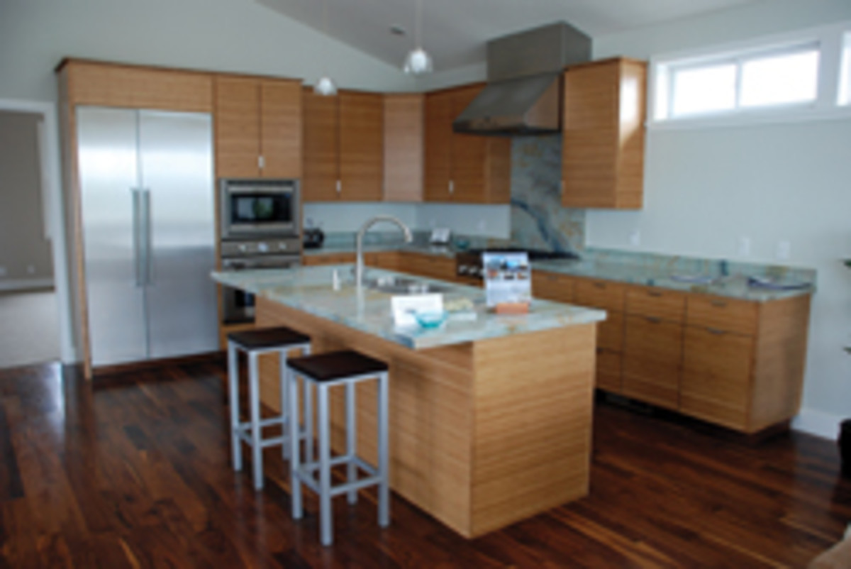 A recent remodeling job that features two built-in corner cabinets.