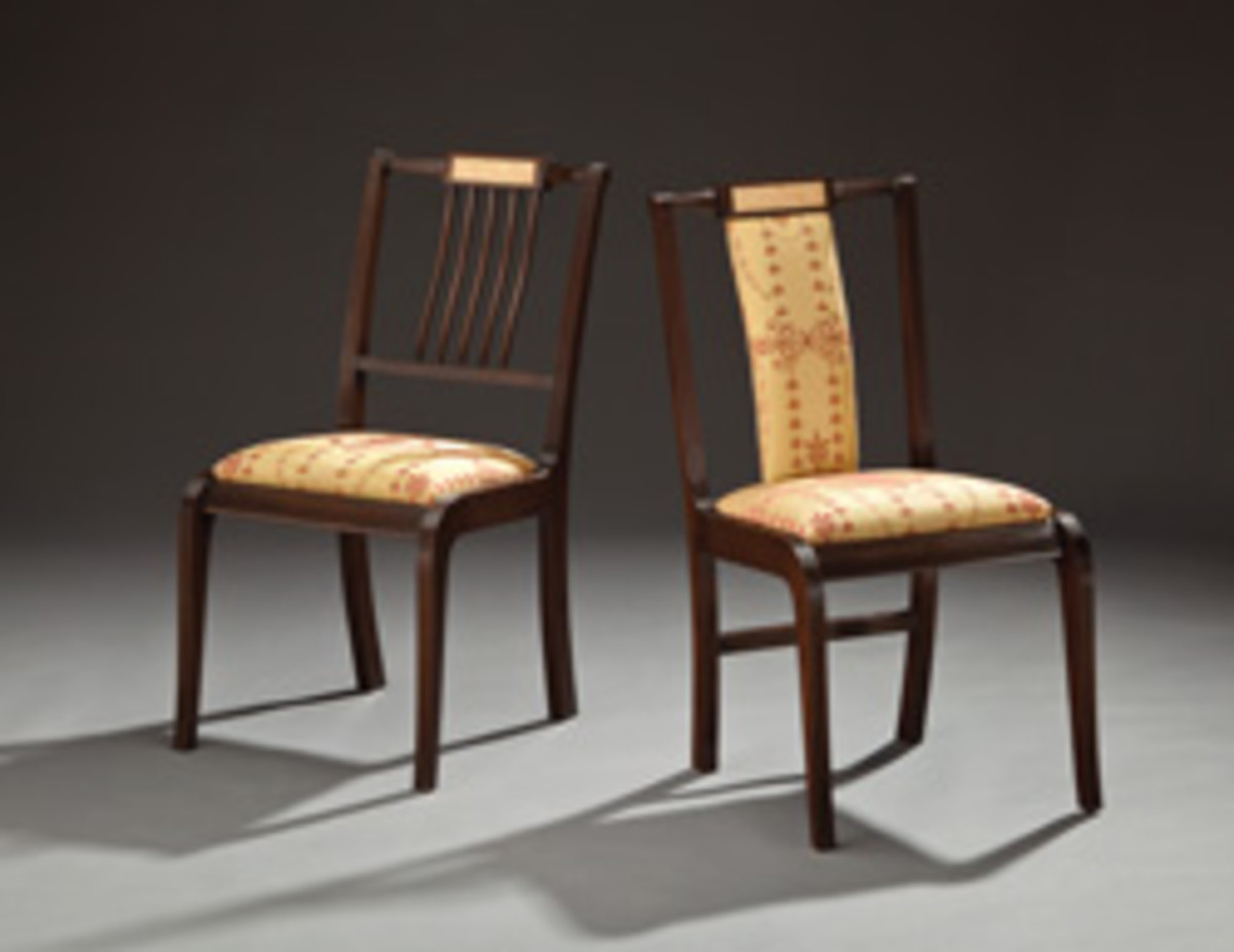"The Winter Show includes these ""His and Here"" chairs by Richard Oedel, made with crotch birch, mahogany, ebony and holly."