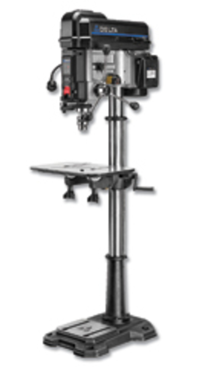 "Delta's new 18"" laser drill press, model 18-900L."