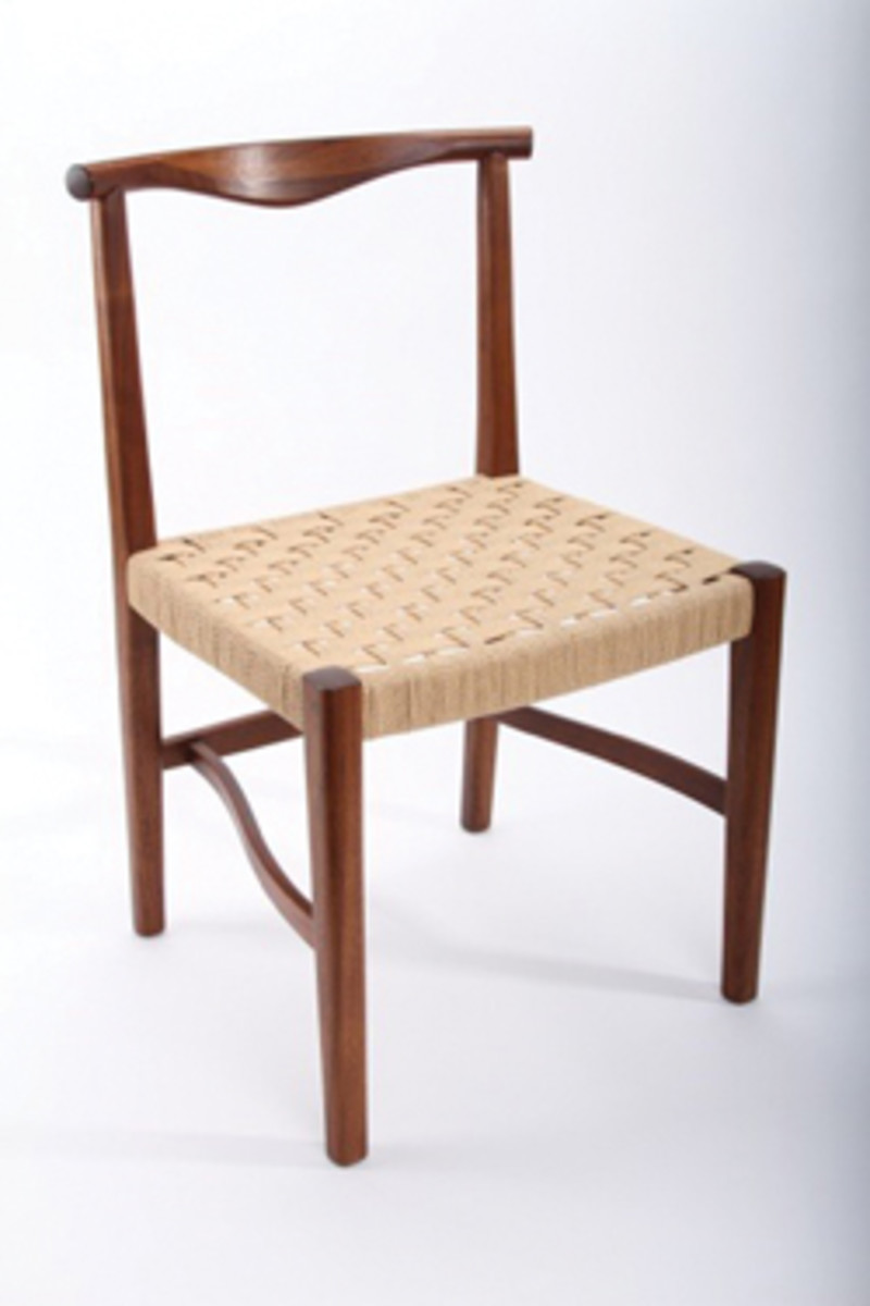 The Messler Gallery show features this chair by David Masury and marquetry bowl by Lou Landry.