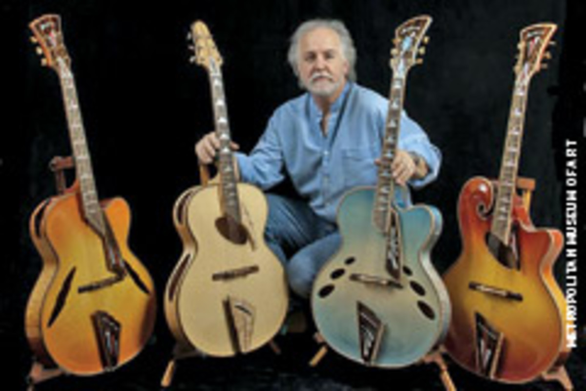 "John Monteolone of Islip, N.Y., with his set of four archtop guitars called ""Four Seasons."""