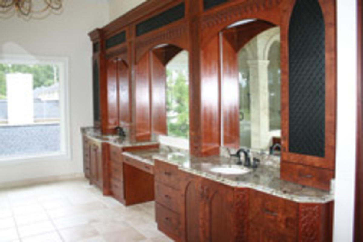 The shop's portfolio includes this residential master bath vanity.