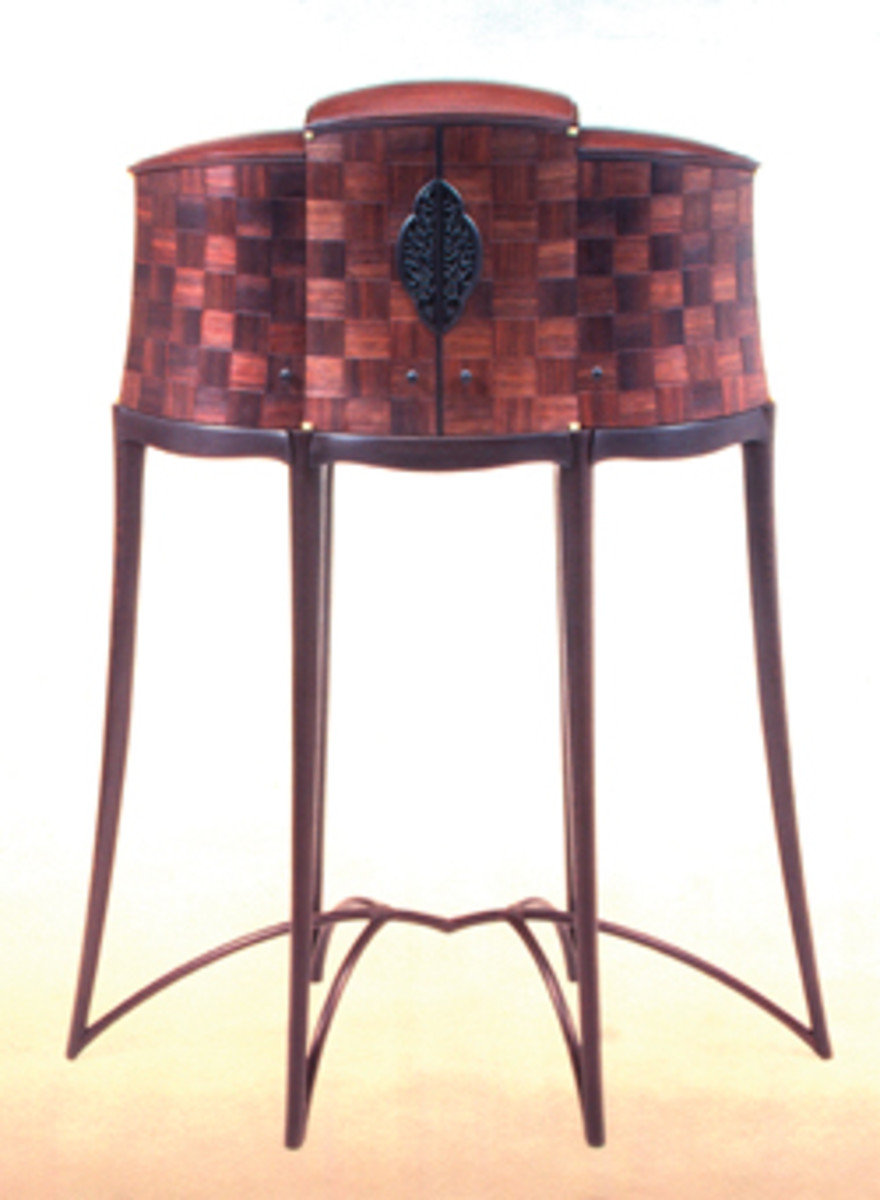 "Newell's ""Spider Cabinet,"" made of East Indian rosewood, pearwood, African ebony and wenge."