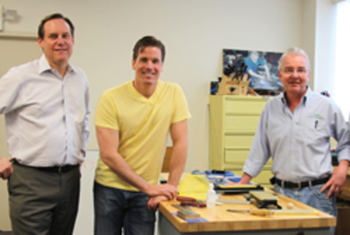 Tommy MacDonald visits DMT in Marlborough, Mass. (L-R: Mark Brandon, president of DMT; Tommy MacDonald, show host; and Stan Watson, DMT technical director).