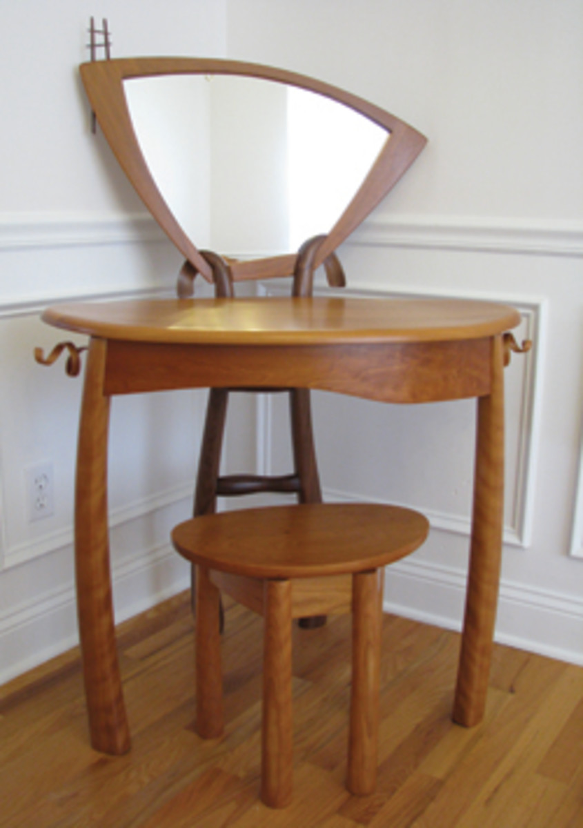 Furniture pieces in the juried Reynolds Fine Art Gallery exhibit include this vanity by Katherine Park.