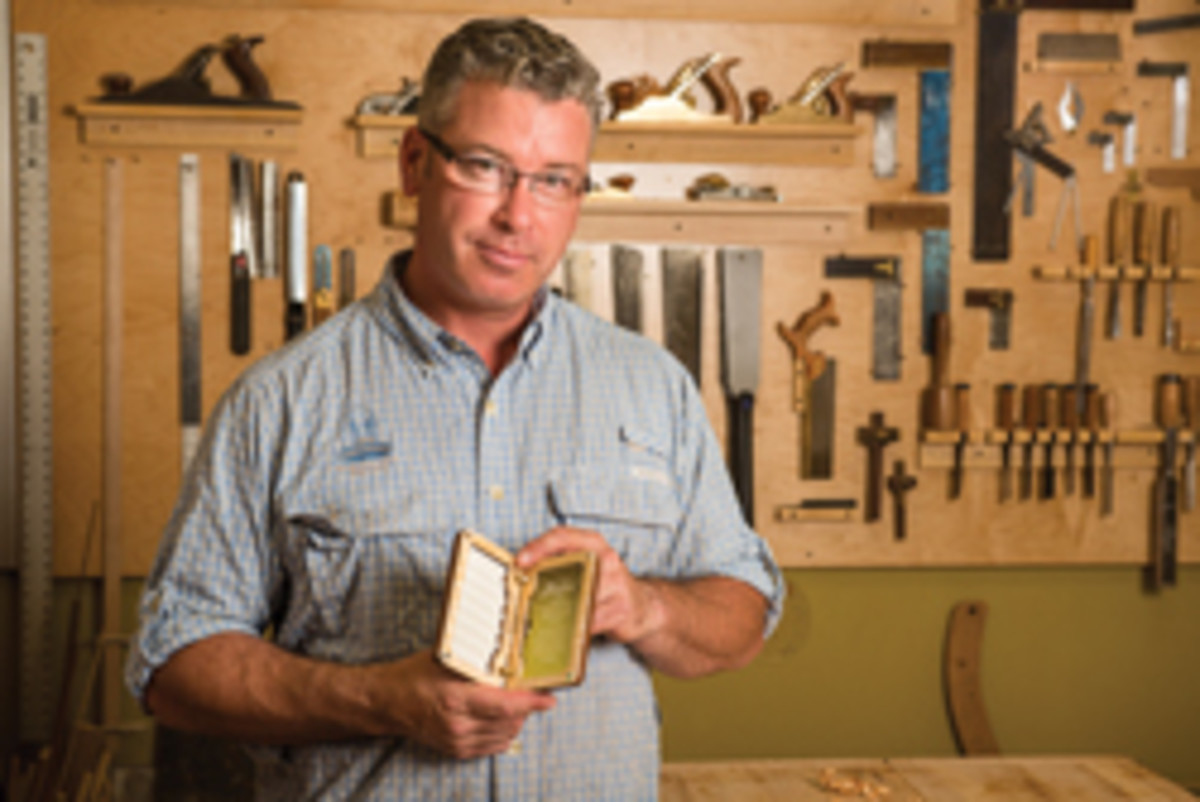 Al Swanson and his wooden fly boxes.