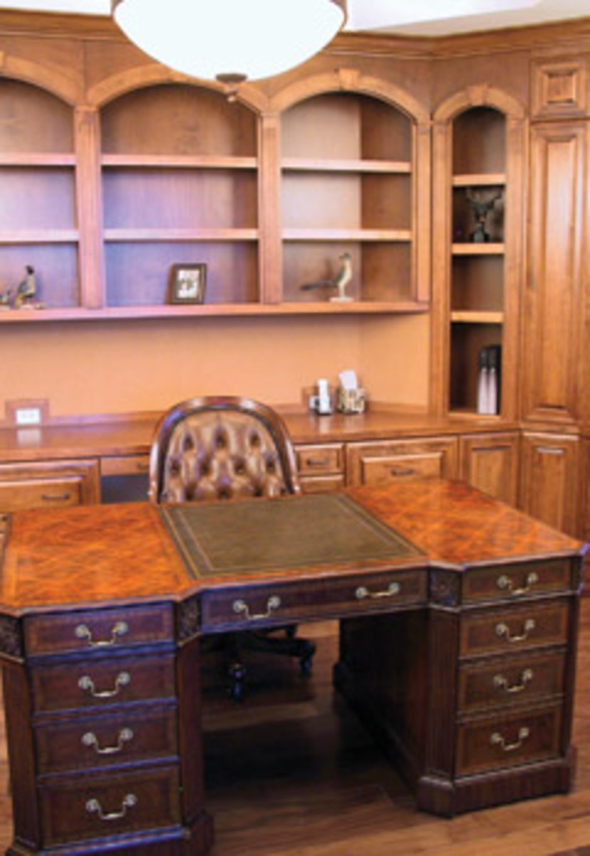 This custom office is an example of a premium casework package. Designed to the homeowner's specifications, project plans were drafted by one of the company's CAD specialists and then fabricated using high-tech machinery.