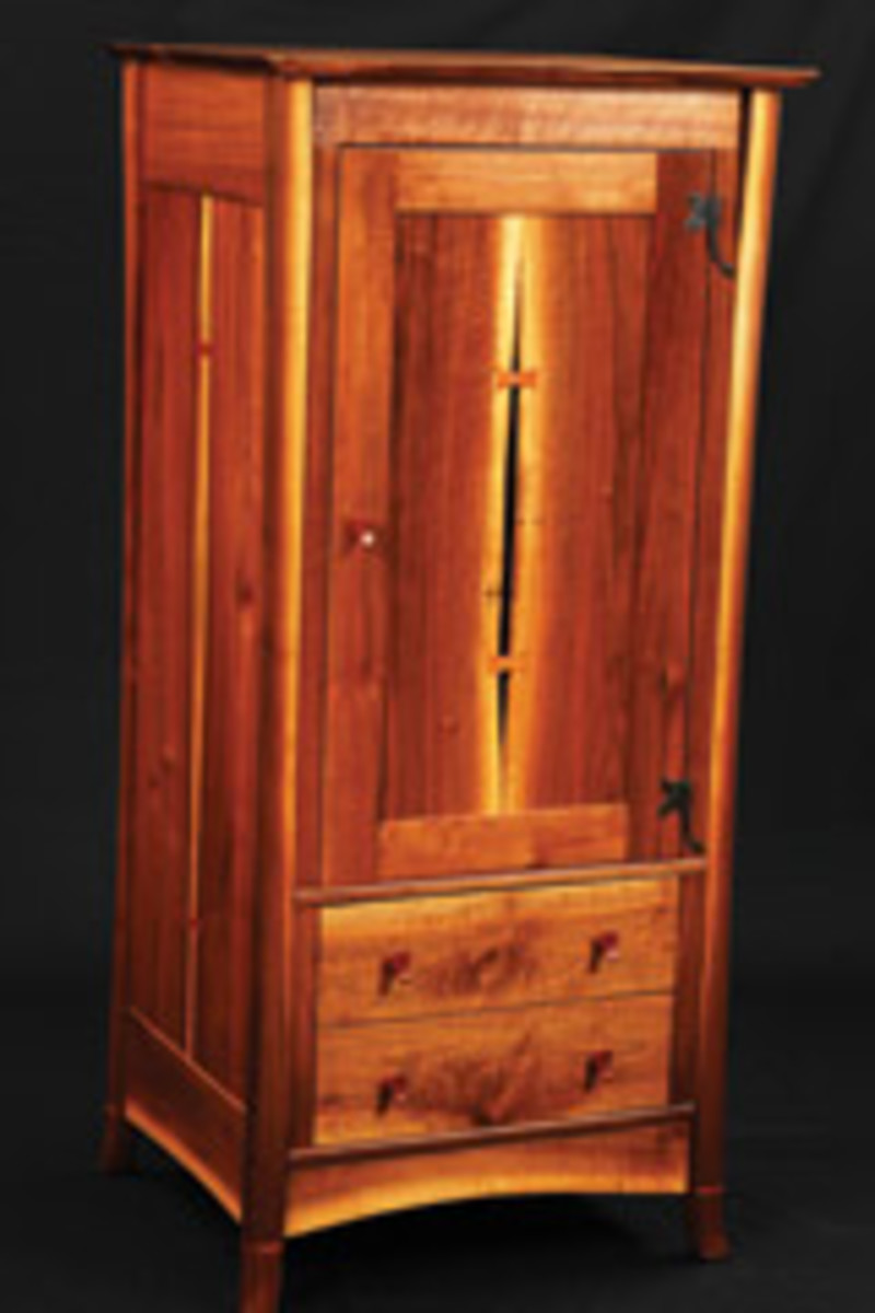 This dresser was created by Ed Barkey of Navarre, Ohio, who is a regular exhibitor at all three Fine Furnishings shows.