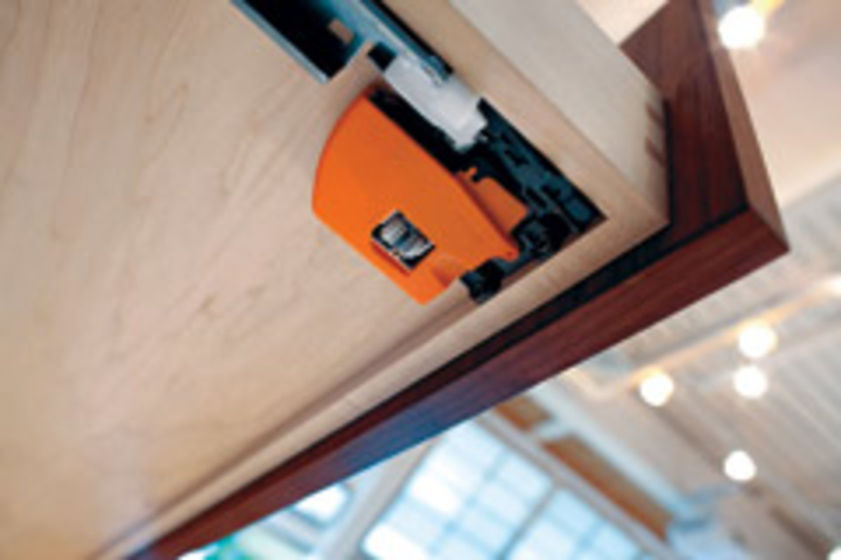The locking device for Blum's Tandem plus Bluemotion drawer runner series.