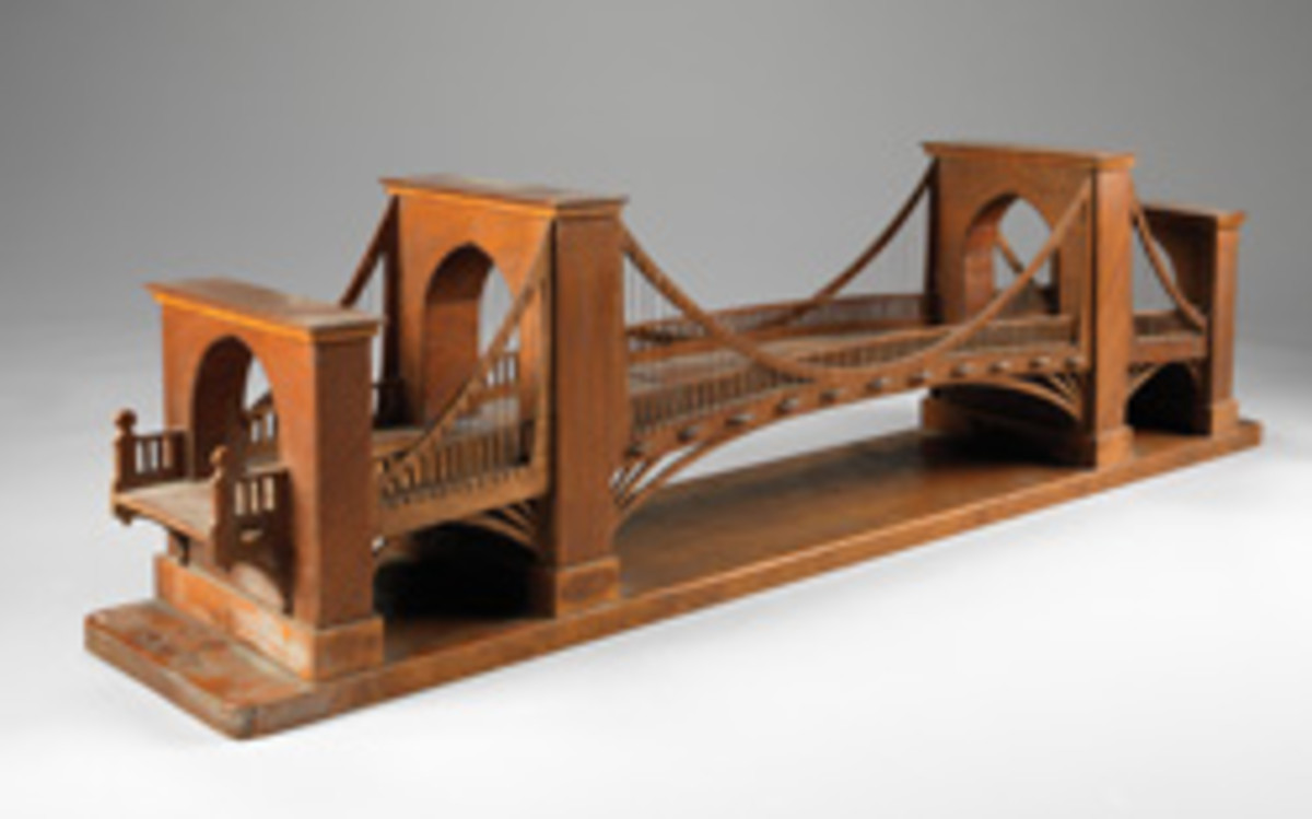 Suspension bridge bookshelf, dated 1925, by Petrus and Sture Lundstrom, made of wood, copper and paper.