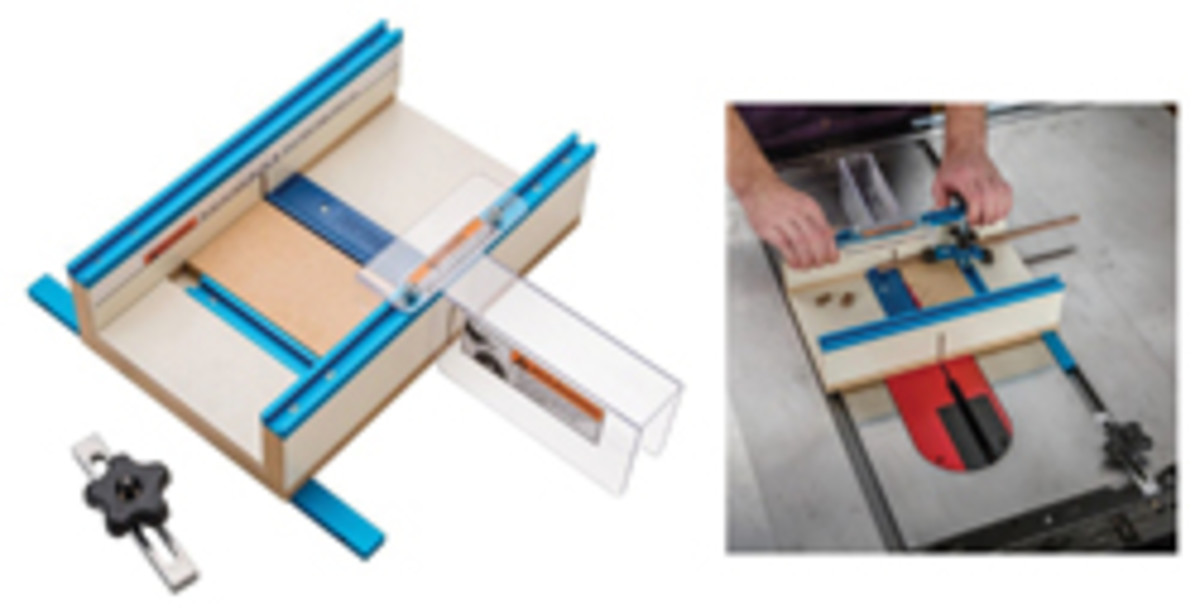 Rockler's downsized table saw sled.