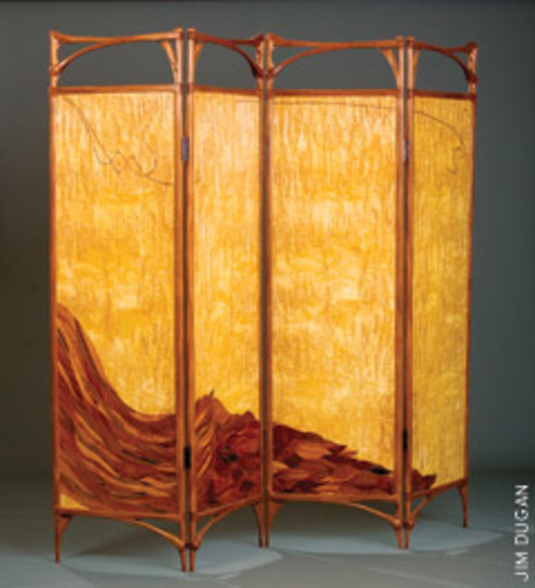 """Screen"" by Virginia Blanchard of Pelham, N.Y., made with mahogany, masur birch burl and various veneers."