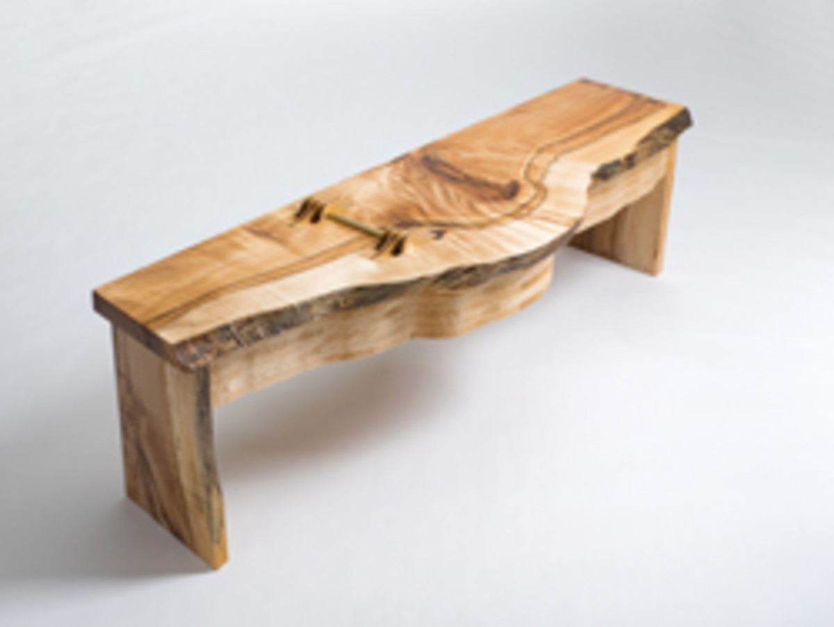 """Fire on the Grain"" bench by Devin Yaeger."