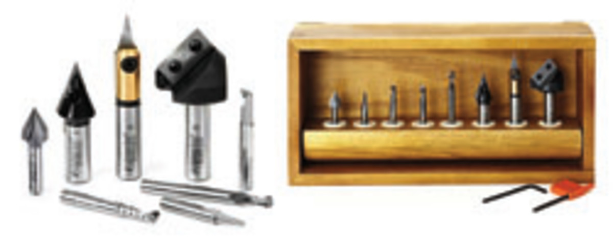 Polycrystaline diamond router bits and sign-making set from Amana Tools.