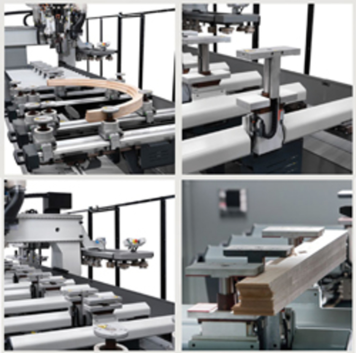 The new Biesse Winline 16 uses an array of work-holding solutions to hold both straight and curved parts, including finger clamps and vacuum modules.