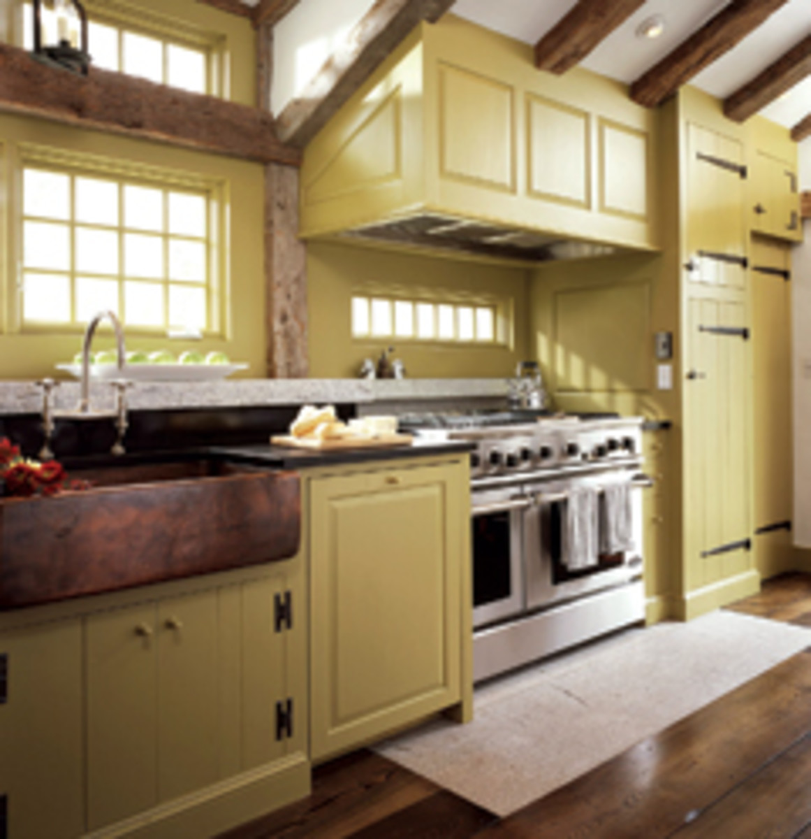 St. John's Bridge created this kitchen from Eastern white pine with a milk-paint finish.