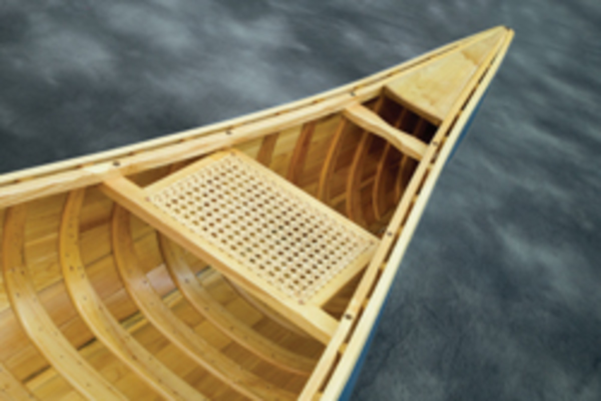 Bob White's canoe, showing at Messler Gallery.