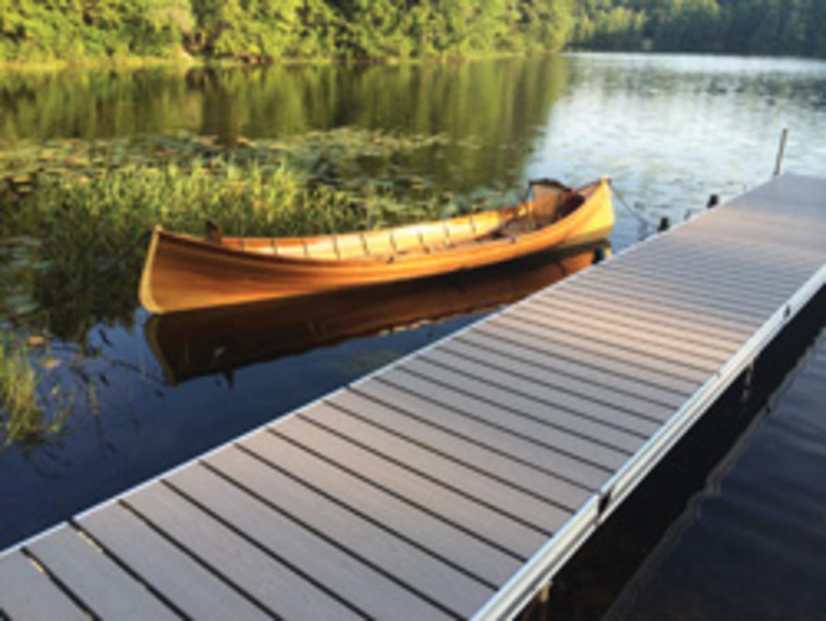 The company's cedar Adirondack guideboat.