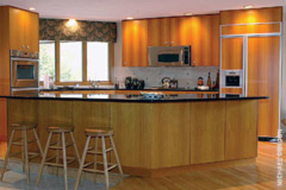 Martin Woodworking used Lyptus veneer paneling for this contemporary kitchen in North Kingstown, R.I.