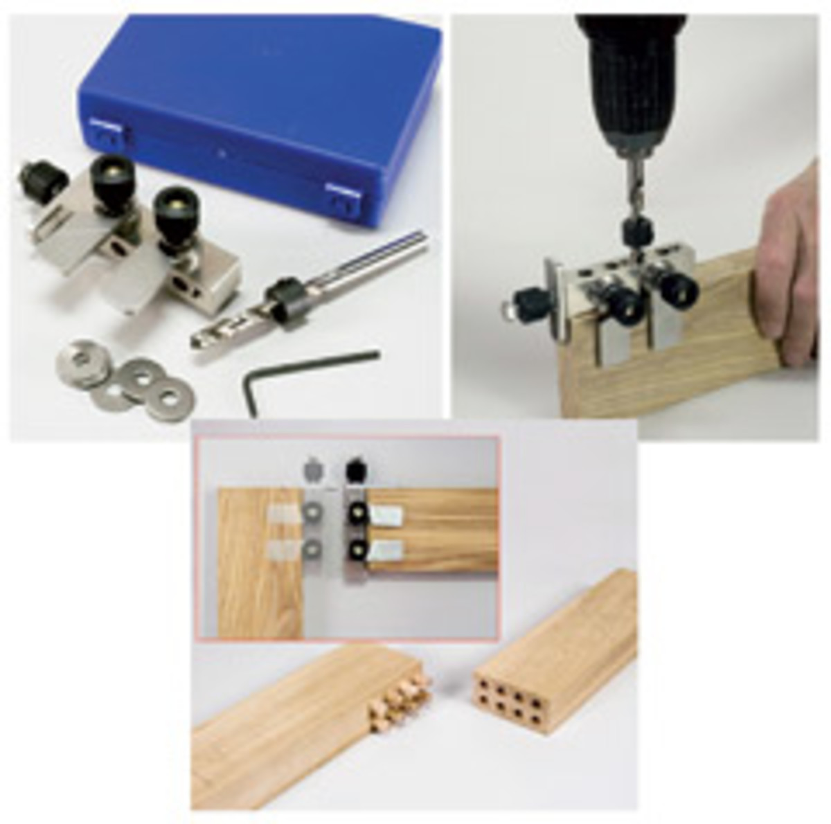 The Joint-Genie Jobber is a simple steel bar with guide holes drilled in it and a fan of steel leaves that allow the user to center the jig. Inexpensive and small, it's an ideal job-site jig.