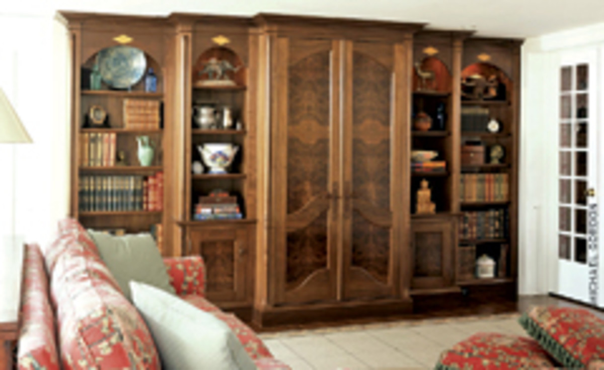 St. John's Bridge created this entertainment center with walnut burl panels and satinwood inlays.