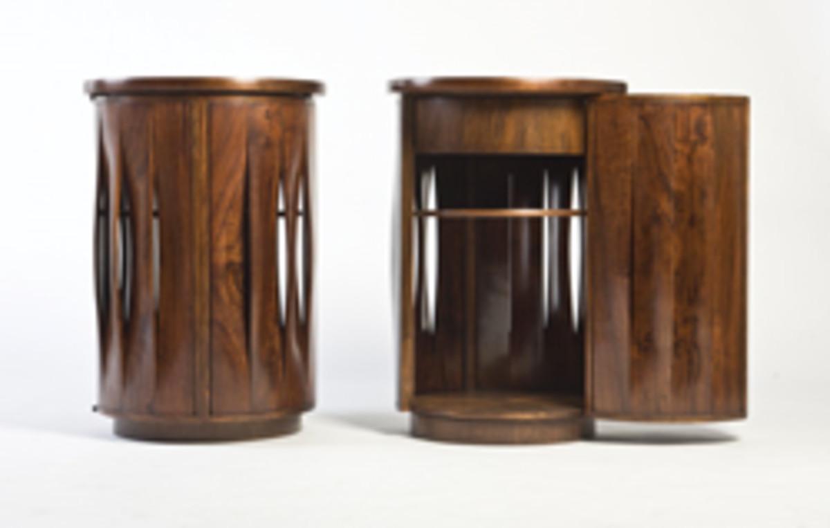 Thomas Hucker's walnut fluted cabinets.