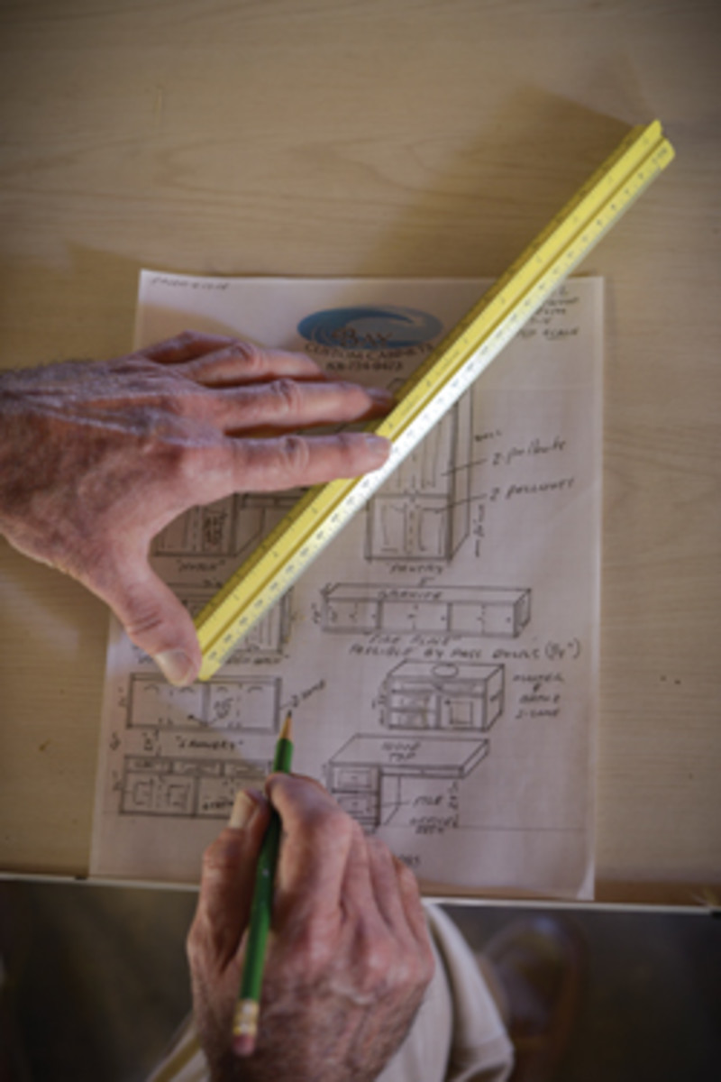 Designs are still drawn by hand at Bay Custom Cabinets where the three employees work comfortably in a 5,000-sq.-ft. shop.
