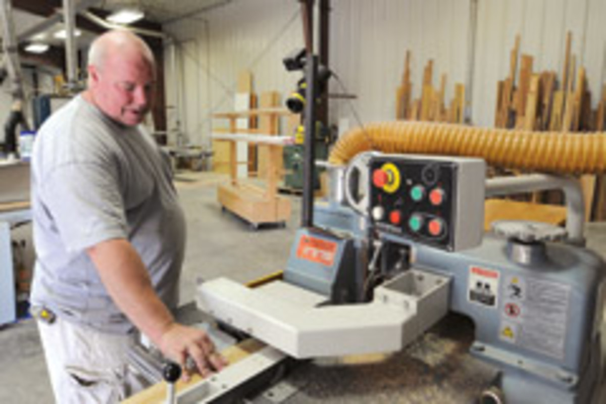 The shop is well-equipped with a Weinig molder and Northtech straight-line rip saw.