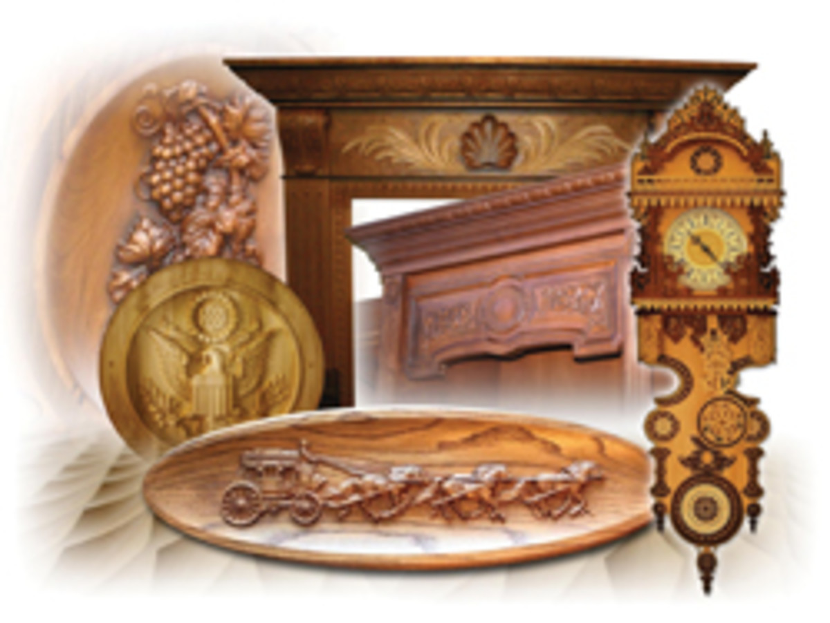 A sampling of decorative elements produced with Vectric's software products.