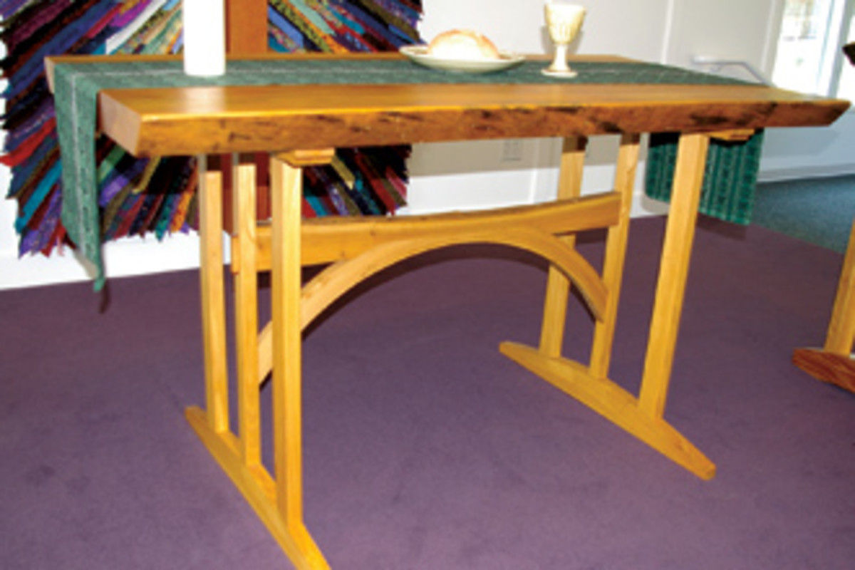 A communion table that Anderson built from locust and pine.