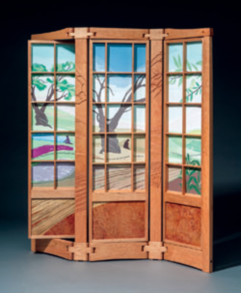 """Jeffrey Cooper's screen, titled """"Three Quotes from Ovid,"""" at the New Hampshire Furniture Masters Association's exhibit in Somesville, Maine."""