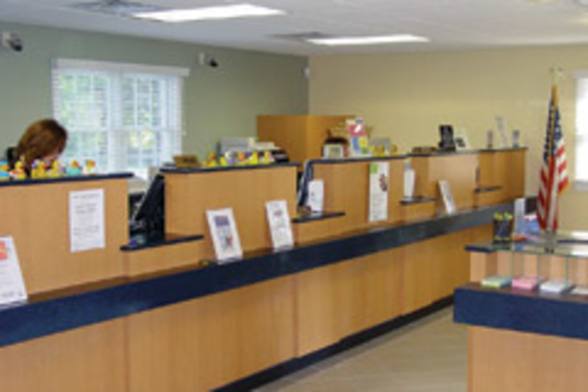 The company fabricated the teller counter and check-writing desk for this bank in Seaville, N.J.