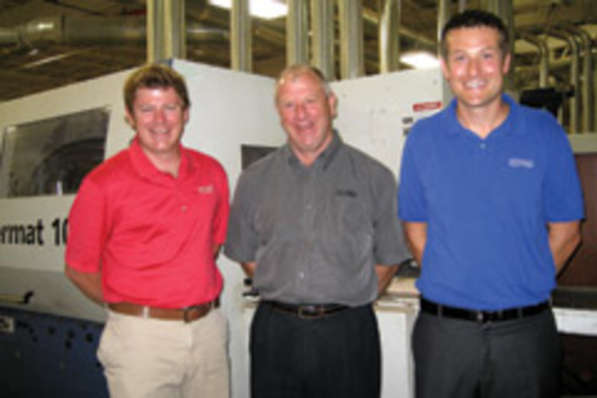 The management and engineering team at Scarlett Machinery includes, from left, James Scarlett, Jim Scarlett and Chris Timmer.