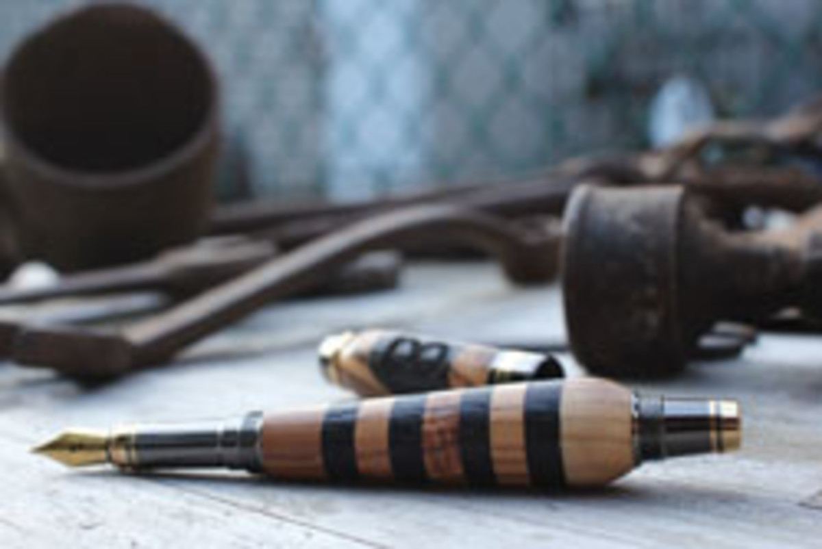 A sampling of some of the elaborate handmade pens produced by Allegory Handcrafted Goods.