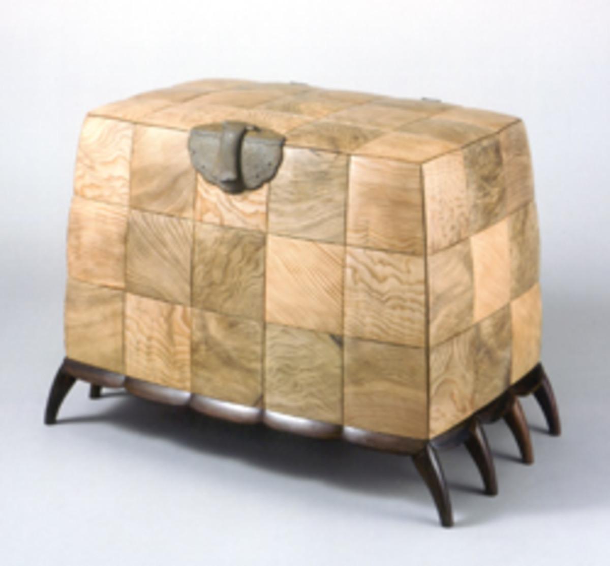 """Brian Newell's """"Blanket Chest,"""" made of Japanese cedar, Macassar ebony, Lebanon cedar and cast iron."""