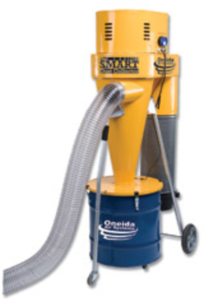 Onieda's Smart Dust Collector, with 35-gallon drum and castors.